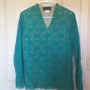 Tops - Lace Blouse-turquoise